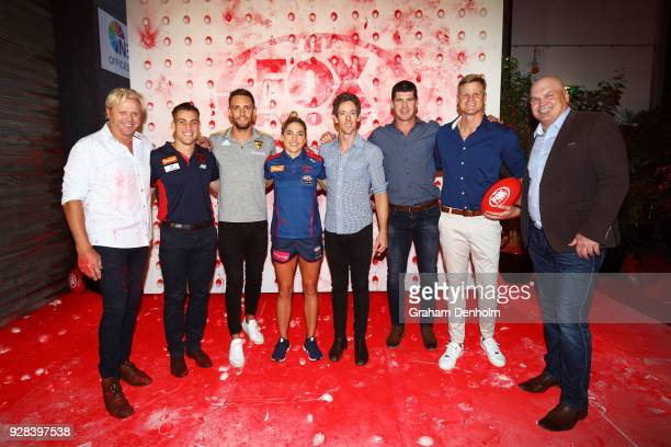 Dermott Brereton Jack Viney Jack Gunston Mel Hickey Bob Murphy Jonathon Brown Nick Riewoldt and Jason Dunstall pose during the 2018 FOX FOOTY AFL...