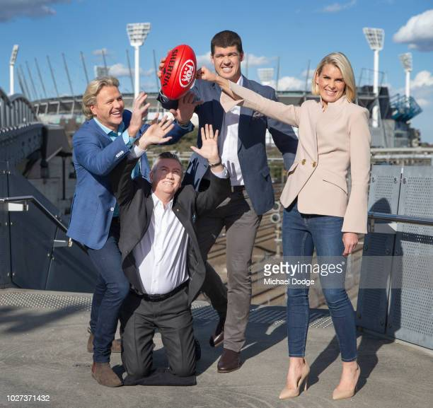 Dermott Brereton Jonathan Brown and Sarah Jones gang up on Eddie McGuire during the FOX FOOTY AFL Finals Series Launch at Birrarung Marr on September...