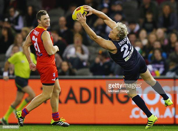 Dermott Brereton of Victoria dives for a mark attempt during the EJ Whitten Legends match at Etihad Stadium on September 2 2016 in Melbourne Australia