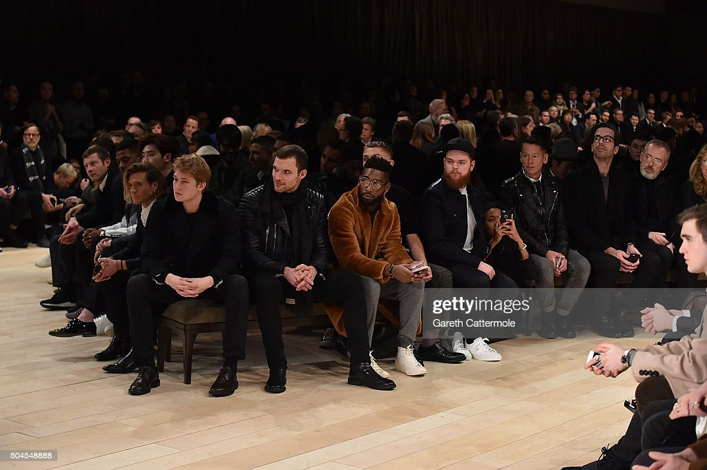 Dermott O'Leary, Courtney Freckleton, Jamal Edwards, Lee Jong Suk, Dougie Poynter, Joe Alwyn, Ed Skrien, Tinie Tempah, Rafferty Law, Jack Garratt wearing Burberry attends the Burberry Menswear January 2016 Show on January 11, 2016 in London, United Kingdom.