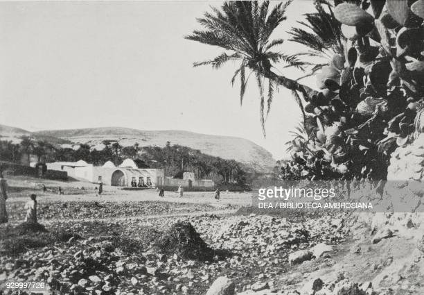 Derna village with the Sidi Ben Mansur oasis in the background Libya ItalianTurkish war from L'Illustrazione Italiana Year XXXVIII No 44 October 29...