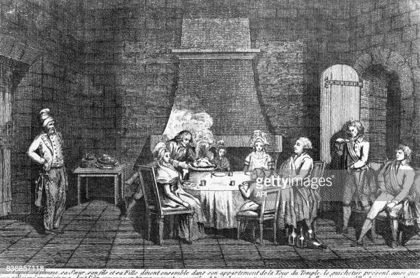 Dernier repas de Louis XVI avec sa famille avant son exécution à la Maison du Temple à Paris en France en 1793