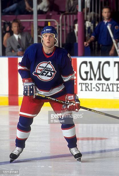 Deron Quint of the Winnipeg Jets skates on the ice during an NHL game against the New York Rangers on October 11 1995 at the Madison Square Garden in...