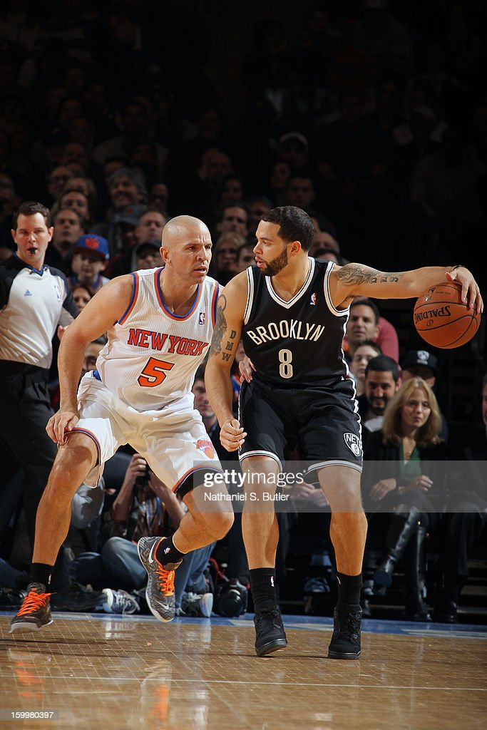 Deron Williams #8 of the Brooklyn Nets looks to drive to the basket against the New York Knicks on January 21, 2013 at Madison Square Garden in New York City.