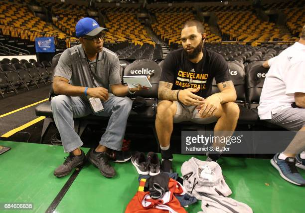 Deron Williams of the Cleveland Cavaliers speaks to the media during practice day of the Eastern Conference Finals of the 2017 NBA Playoffs on May 18...