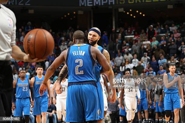 Deron Williams of the Dallas Mavericks and Raymond Felton of the Dallas Mavericks celebrate during the game against the Memphis Grizzlies on February...