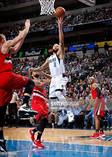 Deron Williams of the Dallas Mavericks goes in for the layup against the Portland Trail Blazers on March 20 2016 at the American Airlines Center in...
