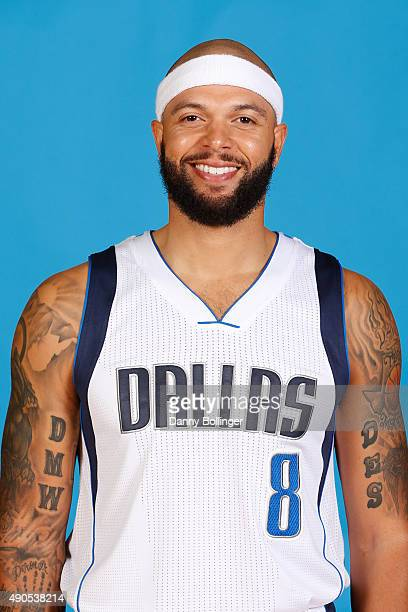Deron Williams of the Dallas Mavericks poses for a head shot during Media Day on September 28 2015 at the American Airlines Center in Dallas Texas...