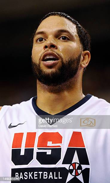 Deron Williams of the US Men's Senior National Team looks on during a PreOlympic Men's Exhibition Game between USA and Argentina at Palau Sant Jordi...