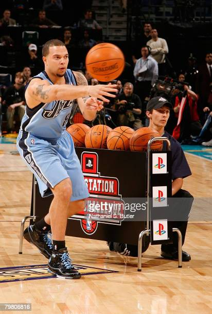 Deron Williams of the Utah Jazz Competes during the Playstation Skills Challenge part of 2008 NBA AllStar Weekend at the New Orleans Arena on...