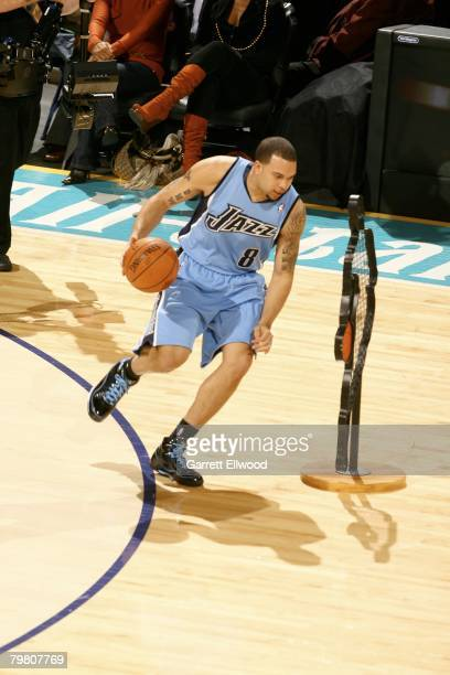 Deron Williams of the Utah Jazz dribbles up court during the Playstation Skills Challenge during AllStar Weekend on February 16 2008 at the New...