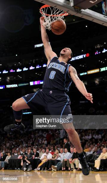 Deron Williams of the Utah Jazz dunks against the Los Angeles Lakers during Game One of the Western Conference Semifinals of the 2010 NBA Playoffs on...