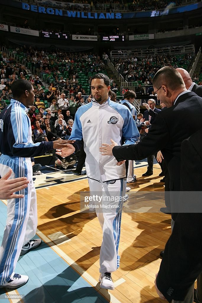 Deron Williams #8 of the Utah Jazz is introduced to the crowd before the game against the Washington Wizards at EnergySolutions Arena on March 15, 2010 in Salt Lake City, Utah. The Jazz won 112-89.