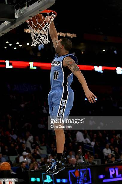 Deron Williams of the Utah Jazz participates in the Playstation Skills Challenge part of 2008 NBA AllStar Weekend at the New Orleans Arena on...