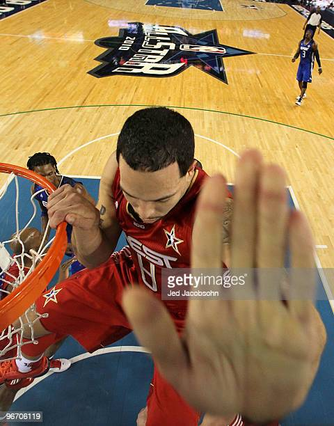 Deron Williams of the Western Conference hits the backboard after shooting against the Eastern Conference during the NBA AllStar Game part of 2010...