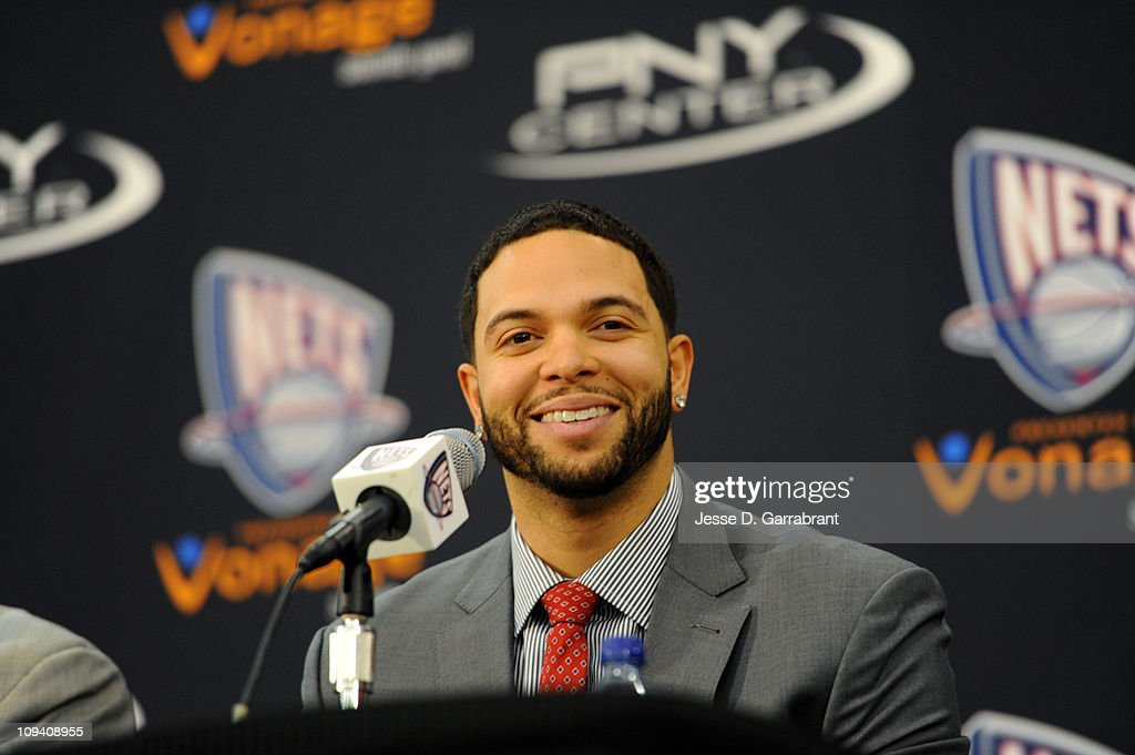 Deron Williams talks with the media during a press conference announcing his trade to the New Jersey Nets on February 24, 2011 at the PNY Center in East Rutherford, New Jersey.