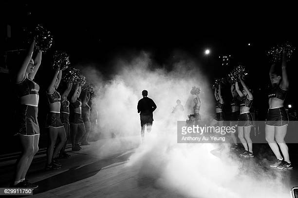 Derone Raukawa of the Breakers runs out during the players introduction during the round 11 NBL match between New Zealand Breakers and Perth Wildcats...