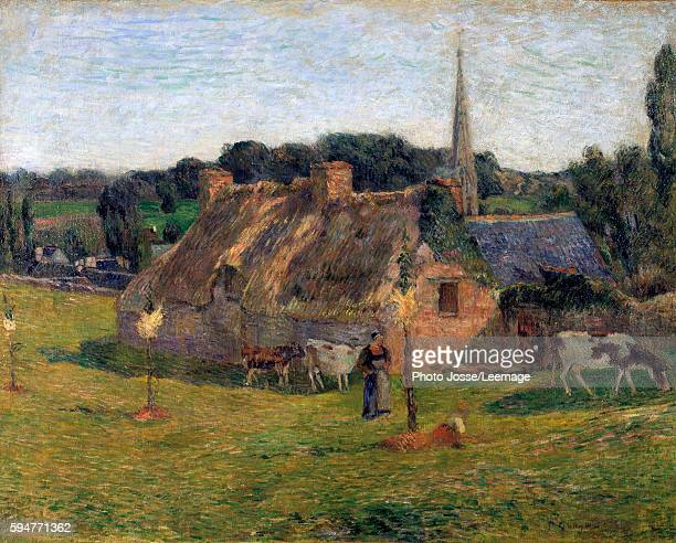 Derout Lollichon's field and the church of Pont Aven , 1886. Painting by Paul Gauguin , 1886. Private collection