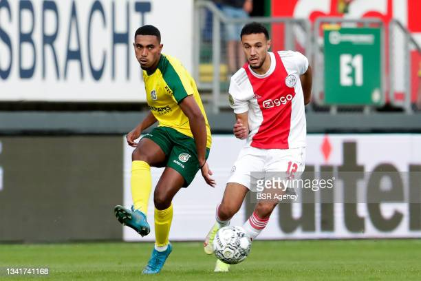 Deroy Duarte of Fortuna Sittard and Noussair Mazraoui of Ajax during the Dutch Eredivisie match between Fortuna Sittard and Ajax at Fortuna Sittard...