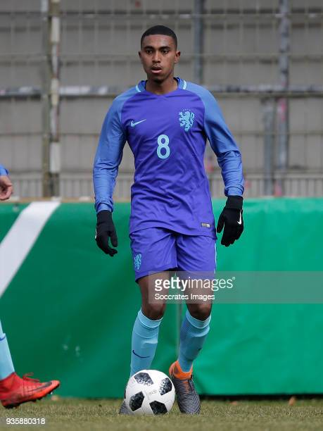 Deroy Duarte of Holland U19 during the match between Norway U19 v Holland U19 at the Wersestadium on March 21 2018 in Ahlen Germany