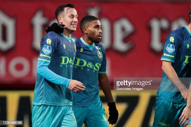 Deroy Duarte of Sparta Rotterdam celebrates 0-2 with Mario Engels of Sparta Rotterdam during the Dutch Eredivisie match between Fc Twente v Sparta at...