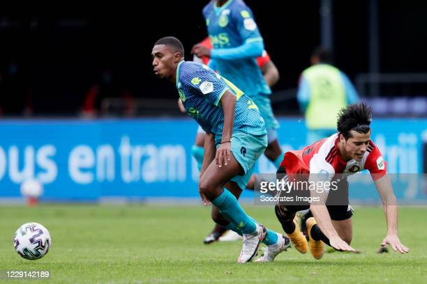 Deroy Duarte of Sparta Rotterdam Joao Carlos Teixeira of Feyenoord during the Dutch Eredivisie match between Feyenoord v Sparta at the Stadium...