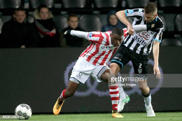 Deroy Duarte of Sparta Rotterdam Tim Breukers of Heracles Almelo during the Dutch Eredivisie match between Heracles Almelo v Sparta at the Polman...