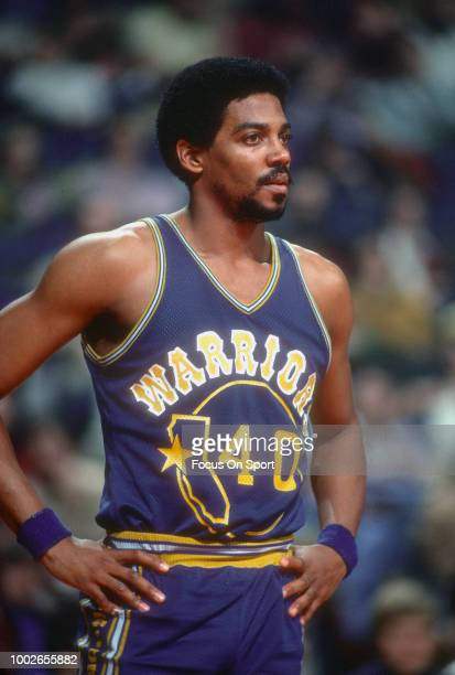 Derrek Dickey of the Golden State Warriors looks on against the Washington Bullets during an NBA basketball game circa 1976 at the Capital Centre in...