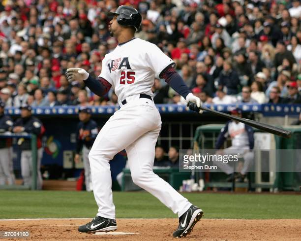 Derrek Lee of Team USA hits a 2 run home run against Team Japan during thesixth inning of the Round 2 Pool 2 Game of the World Baseball Classic at...