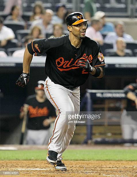 Derrek Lee of the Baltimore Orioles in action against the at Yankee Stadium on July 29 2011 in the Bronx borough of New York City Baltimore defeated...