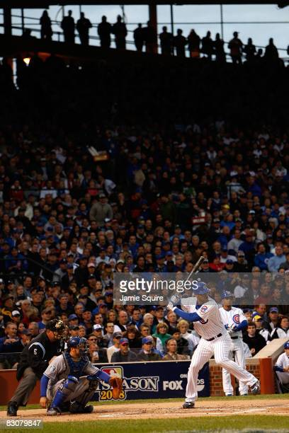 Derrek Lee of the Chicago Cubs bats against the Los Angeles Dodgers in Game One of the NLDS during the 2008 MLB Playoffs at Wrigley Field on October...