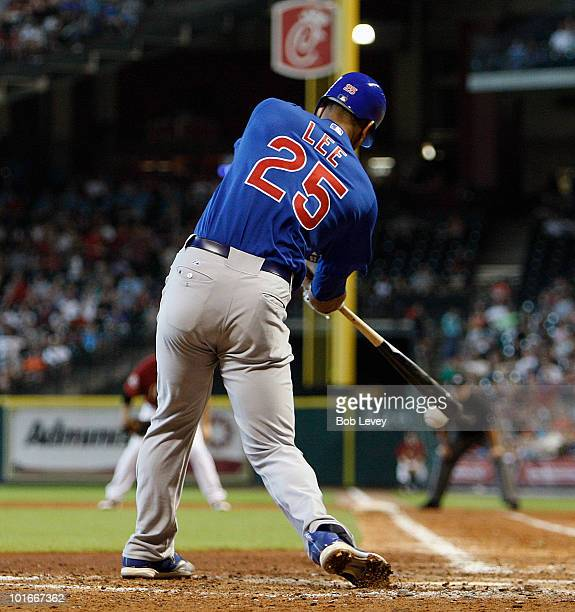 Derrek Lee of the Chicago Cubs hits a line drive to center field in the eighth inning against the Houston Astros at Minute Maid Park on June 6 2010...