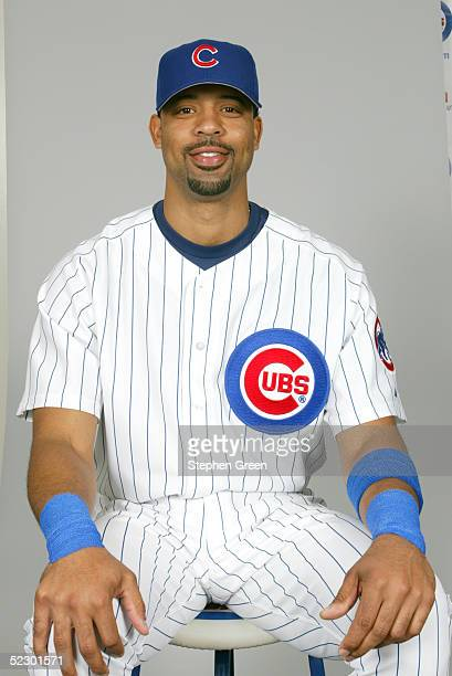 Derrek Lee of the Chicago Cubs poses for a portrait during photo day at HoHoKam Park on February 25 2005 in Mesa Arizona