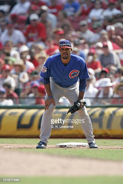 Derrek Lee of the Chicago Cubs waits for a pitch to be thrown during a game against the St Louis Cardinals at Busch Stadium in St Louis Mo on July 23...