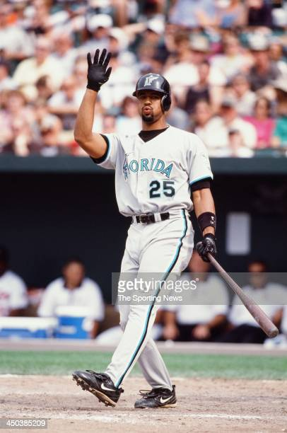 Derrek Lee of the Florida Marlins bats against the Baltimore Orioles at Oriole Park at Camden Yards on July 16 2000 in Baltimore Maryland
