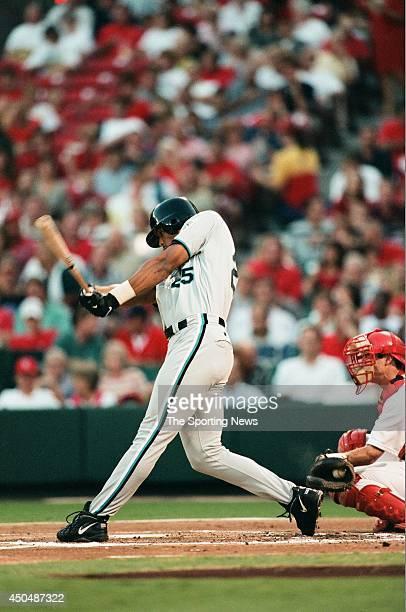 Derrek Lee of the Florida Marlins bats against the St Louis Cardinals at Busch Stadium on August 26 1998 in St Louis Missouri
