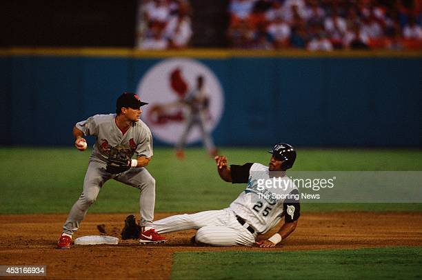 Derrek Lee of the Florida Marlins slides against the St Louis Cardinals at Pro Player Stadium on September 2 1998 in Miami Gardens Florida