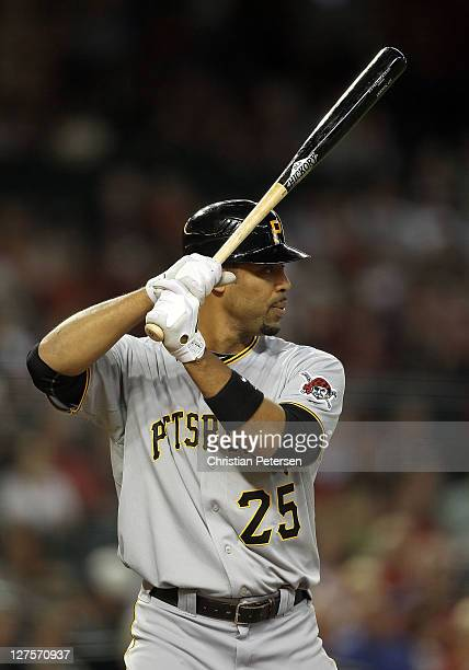 Derrek Lee of the Pittsburgh Pirates bats against the Arizona Diamondbacks during the Major League Baseball game at Chase Field on September 19 2011...