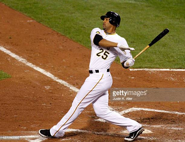 Derrek Lee of the Pittsburgh Pirates bats against the Cincinnati Reds during the game on September 24 2011 at PNC Park in Pittsburgh Pennsylvania