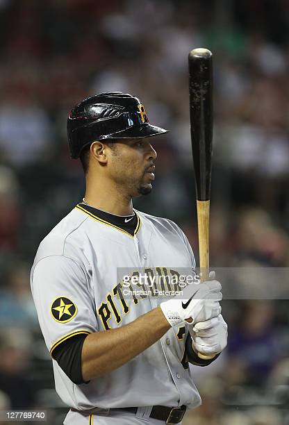 Derrek Lee of the Pittsburgh Pirates during the Major League Baseball game against the Arizona Diamondbacks at Chase Field on September 21 2011 in...