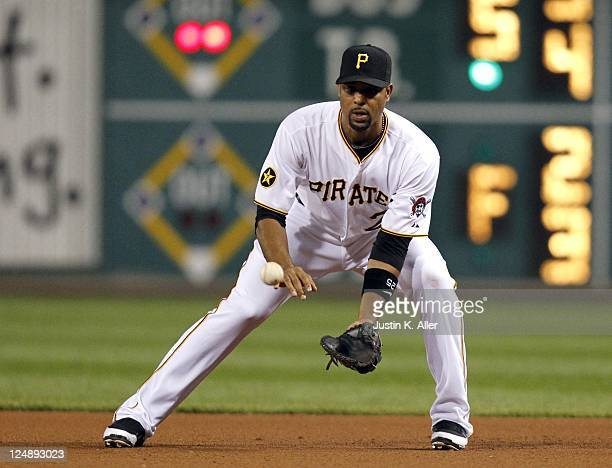 Derrek Lee of the Pittsburgh Pirates fields a ground ball against the Florida Marlins during the game on September 10 2011 at PNC Park in Pittsburgh...