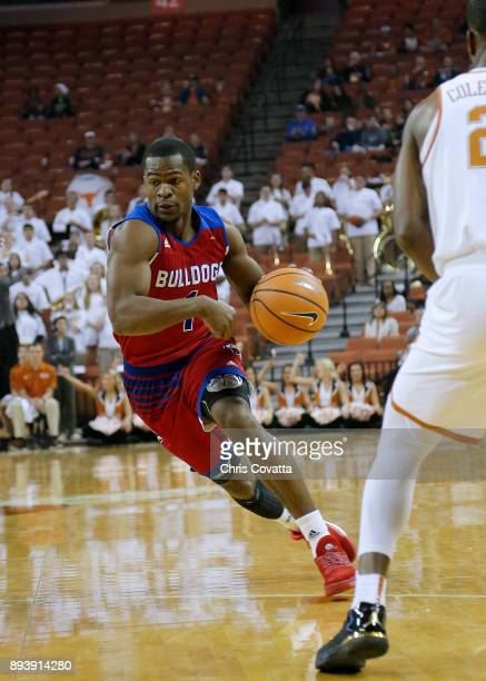 Derric Jean of the Louisiana Tech Bulldogs drives to the basket against the Texas Longhorns at the Frank Erwin Center on December 16 2017 in Austin...