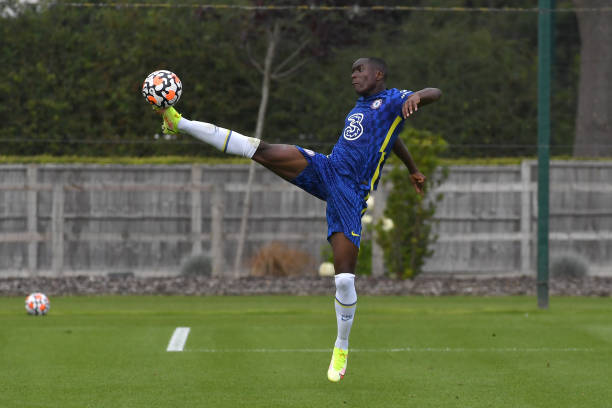 Derrick Abu of Chelsea collects the ball during the Chelsea v West Bromwich Albion U18 Premiere League match on August 14th, 2021 in Cobham, England.