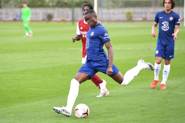 Derrick Abu of Chelsea shoots for goal during the U18 Premier League match between Chelsea and Arsenal at Chelsea Training Ground on May 12, 2021 in...