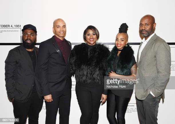 Derrick Adams Kadir Nelson Jazmine Sullivan Doreen Garner and Lewis Long attends HBO's The HeLa Project Exhibit For The Immortal Life of Henrietta...