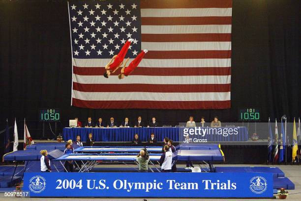 Derrick Aldrich and Peter Dodd compete in the synchronized trampoline while attempting to qualify for a spot in the the World Games during the U.S....