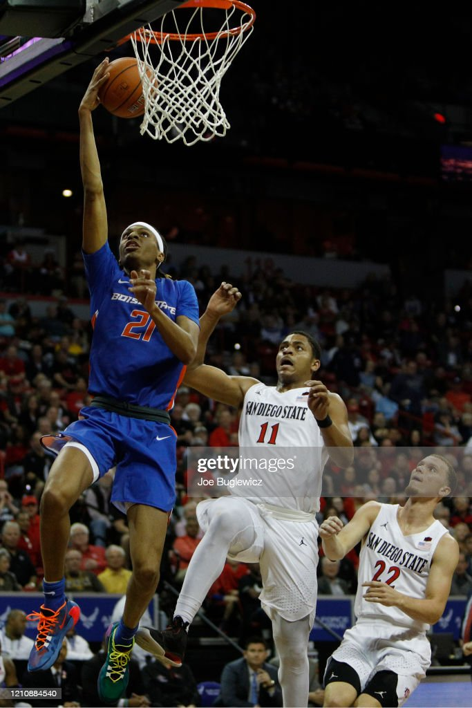Boise State's redshirt junior forward, Derrick Alston Jr. impressed with his versatile play early on, but he also struggled to make plays in the second half in his team's loss to San Diego State. (Photo: Joe Buglewicz/Getty Images)