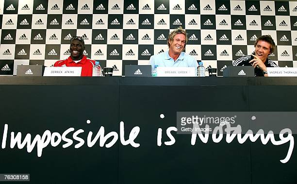Derrick Atkins of the Bahamas Breaux Greer of the United States of America and Andreas Thorkildsen of Norway attend the adidas Press Conference at...
