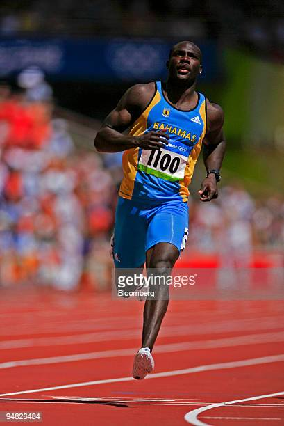 Derrick Atkins of the Bahamas runs in the eigth heat of the men's 100meter Athletics event on day seven of the 2008 Beijing Olympics in Beijing China...