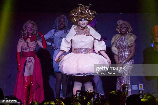 Derrick Barry Dax ExclamationPoint Kim Chi and Chi Chi Devayne onstage during Logo's RuPaul's Drag Race Season 8 Premiere at Stage 48 on February 22...